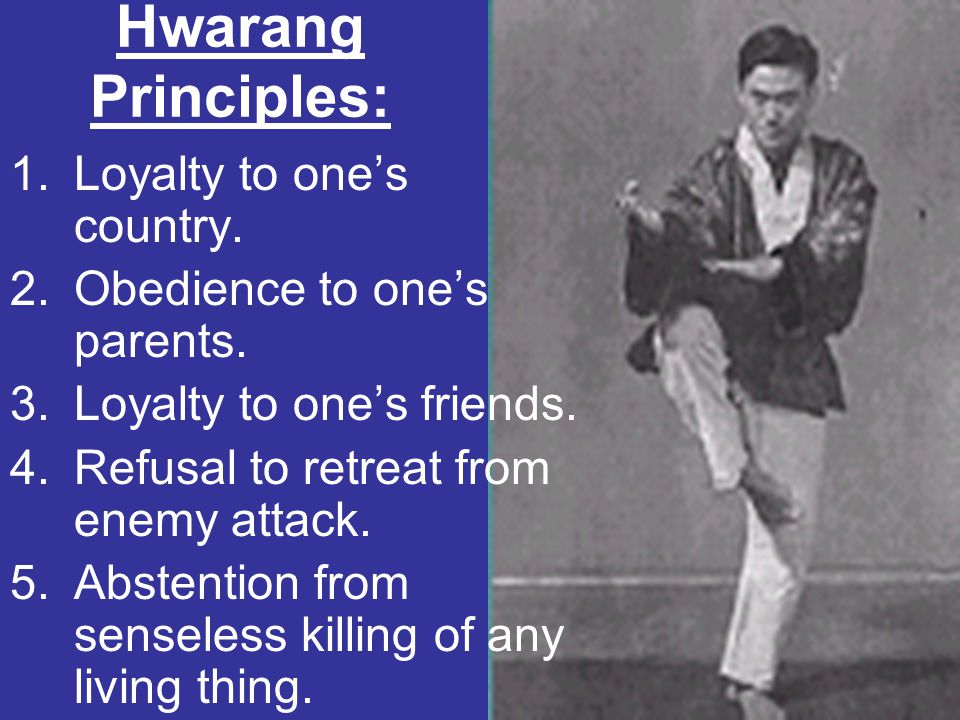 Hwarang Principles: Loyalty to one's country.