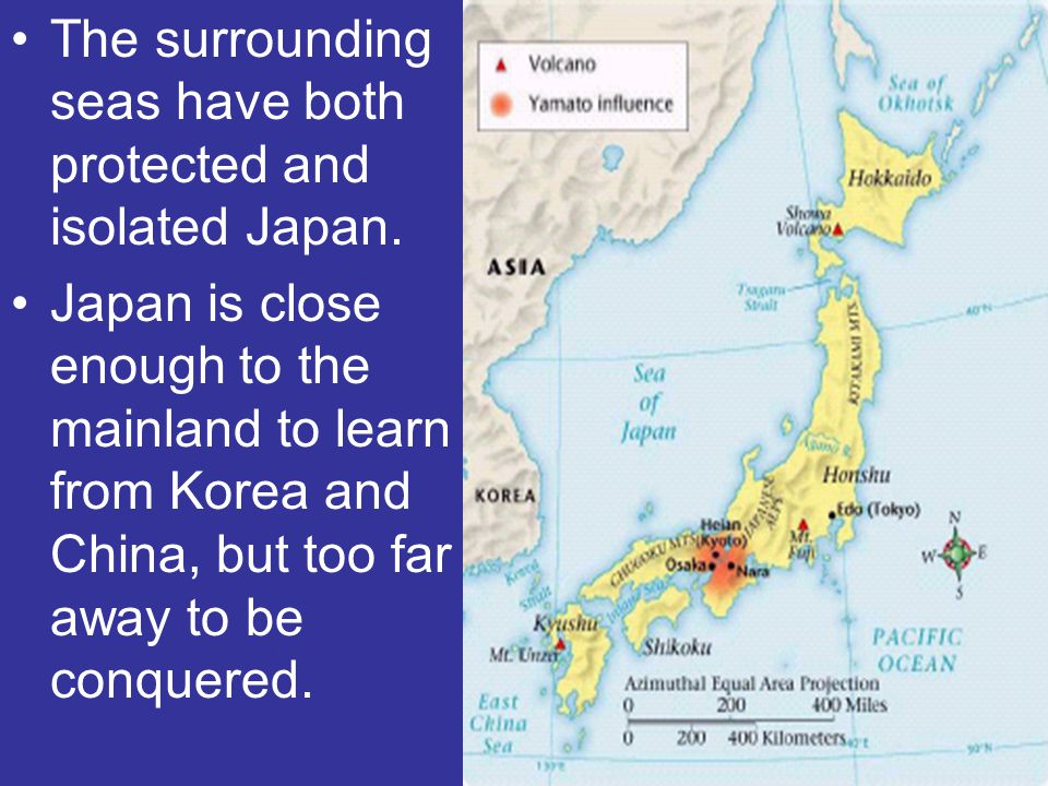The surrounding seas have both protected and isolated Japan.
