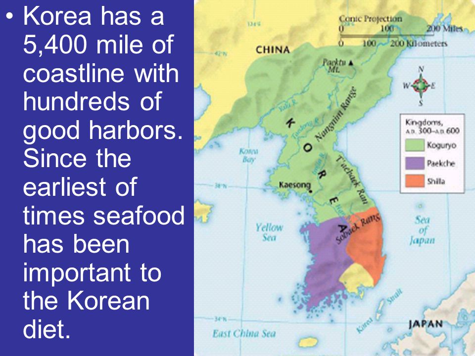 Korea has a 5,400 mile of coastline with hundreds of good harbors