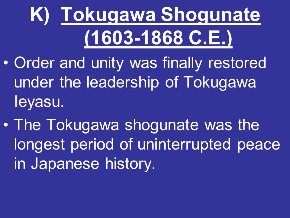 K) Tokugawa Shogunate (1603-1868 C.E.)