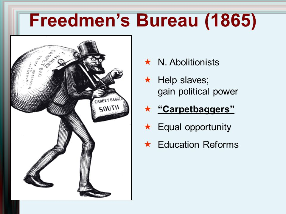 Freedmen's Bureau (1865) N. Abolitionists