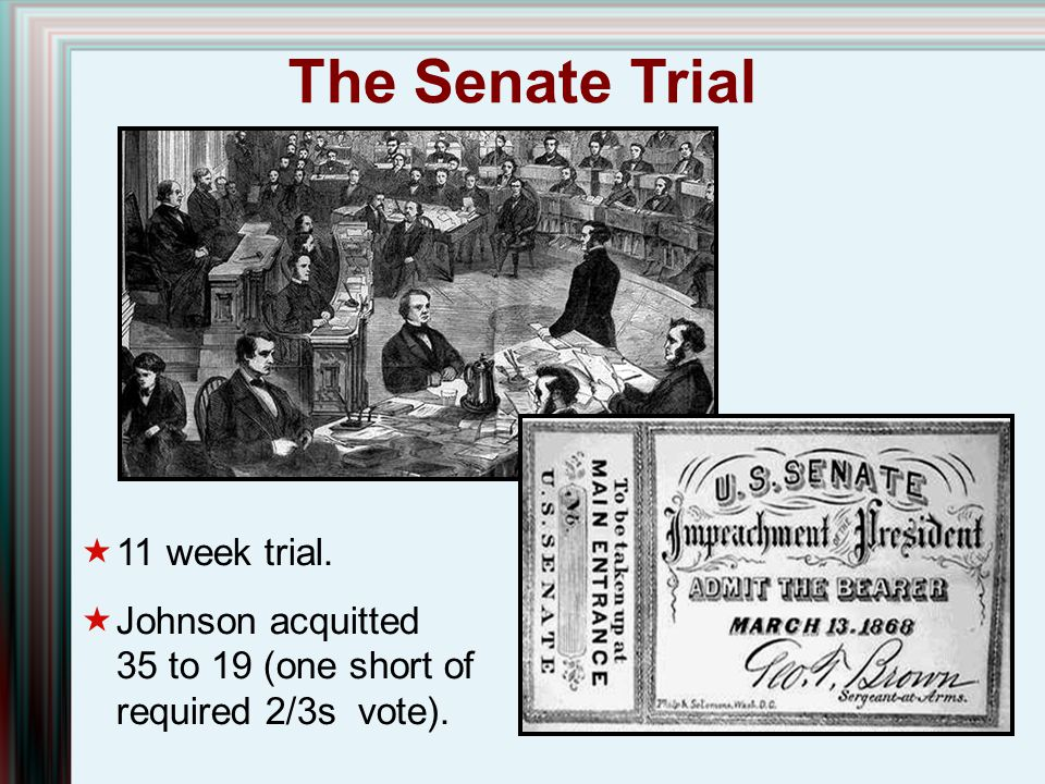 The Senate Trial 11 week trial.