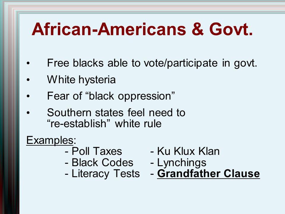 African-Americans & Govt.