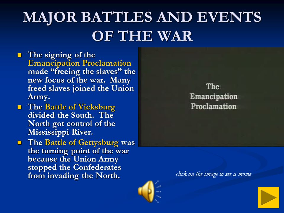 MAJOR BATTLES AND EVENTS OF THE WAR