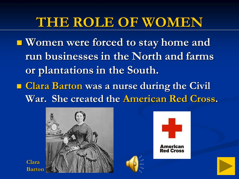 THE ROLE OF WOMEN Women were forced to stay home and run businesses in the North and farms or plantations in the South.