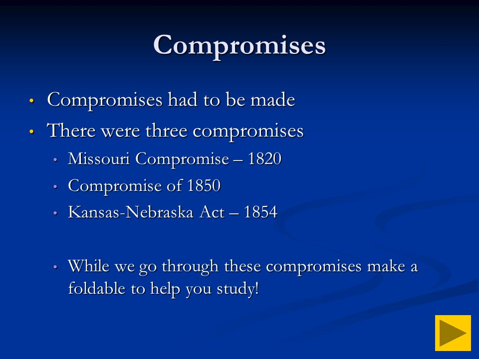 an analysis of the compromise of missouri and its role in the civil war The role of compromise of 1850 in the history of the united states of america   on january 29, 1850, senator henry clay presented resolutions to his  colleagues  boundary agreed in the missouri compromise of 1820 to the pacific  ocean  the kansas-nebraska act in 1854) and held off the civil war for about  10 years.