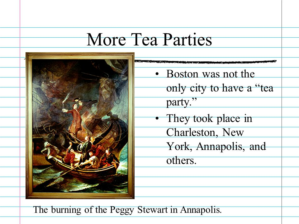 More Tea Parties Boston was not the only city to have a tea party.