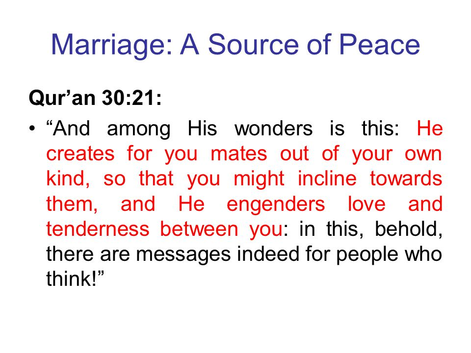 Marriage: A Source of Peace