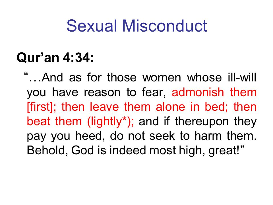 Sexual Misconduct Qur'an 4:34: