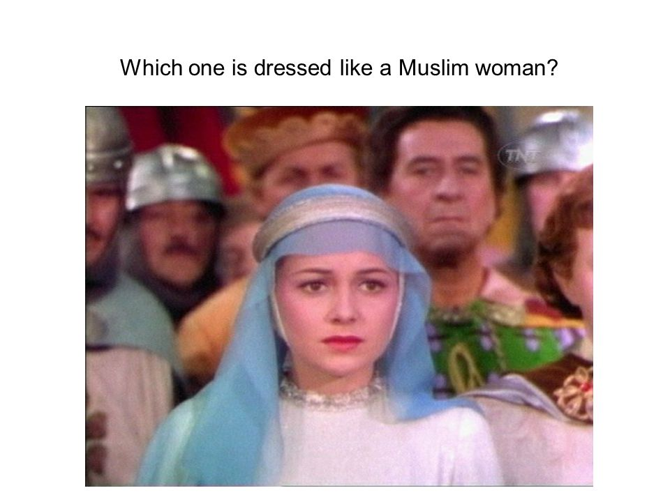 Which one is dressed like a Muslim woman