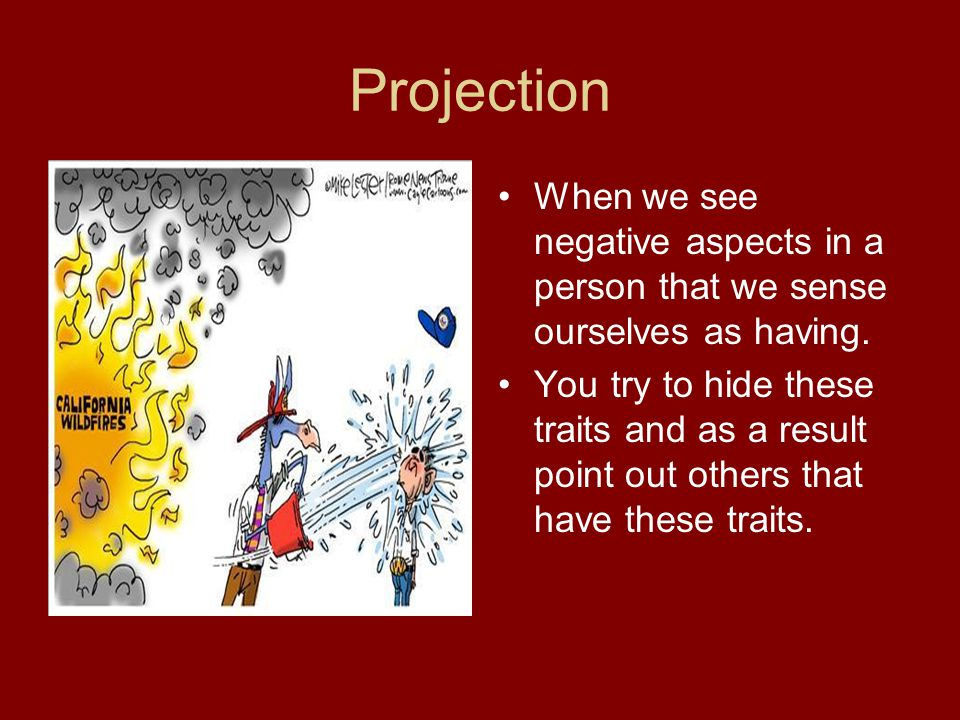 Projection When we see negative aspects in a person that we sense ourselves as having.