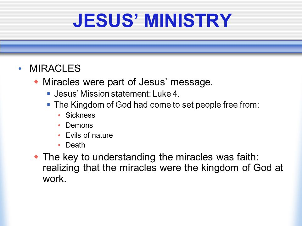 JESUS' MINISTRY MIRACLES Miracles were part of Jesus' message.
