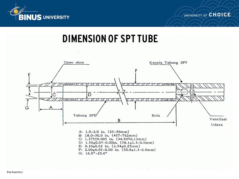 DIMENSION OF SPT TUBE Bina Nusantara