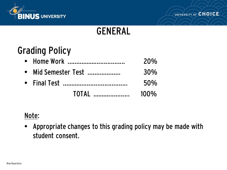 GENERAL Grading Policy Home Work ………........................ 20%