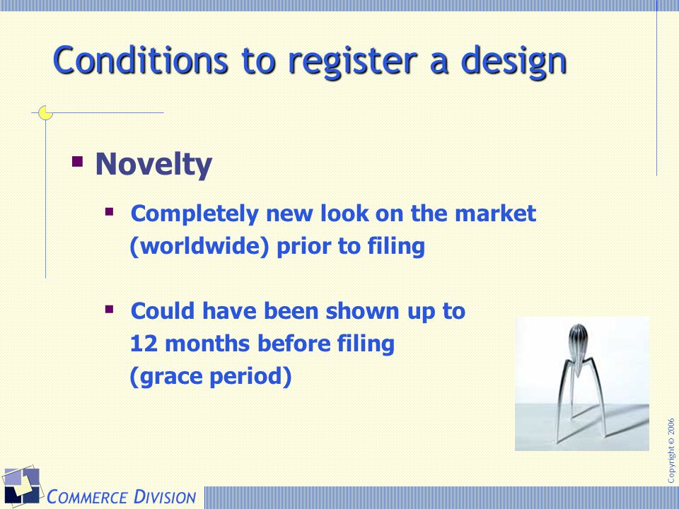 Conditions to register a design