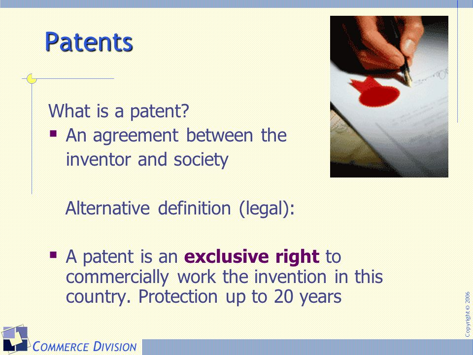 Patents What is a patent An agreement between the