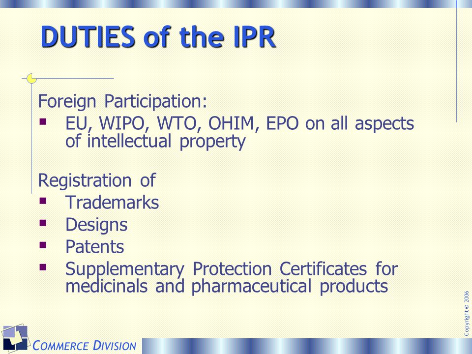 DUTIES of the IPR Foreign Participation: