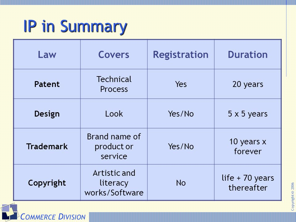 IP in Summary Law Covers Registration Duration Patent