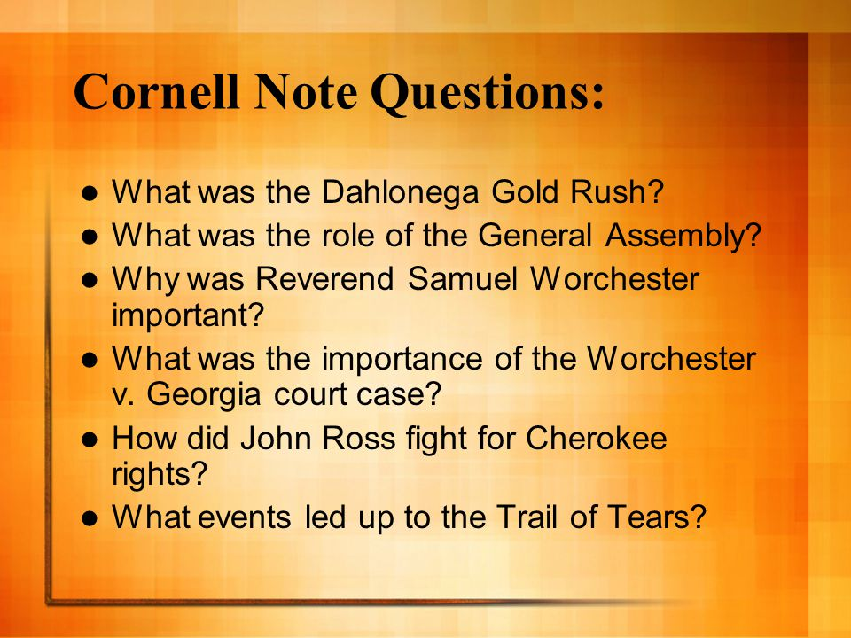 Cornell Note Questions: