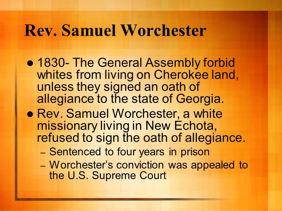 Rev. Samuel Worchester