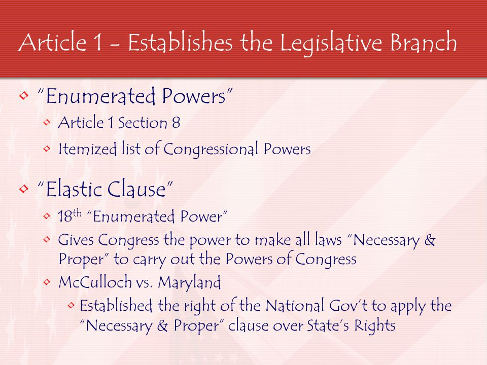 Article 1 - Establishes the Legislative Branch