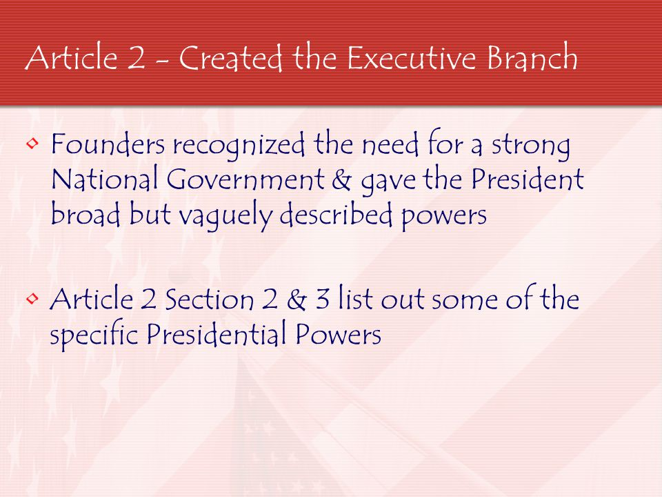 Article 2 - Created the Executive Branch