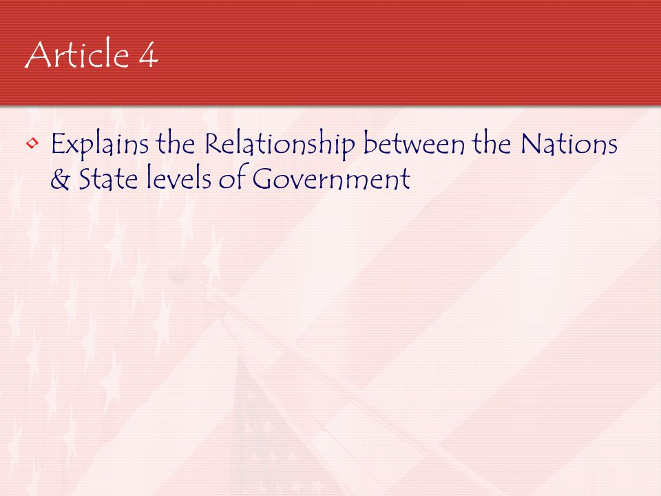 Article 4 Explains the Relationship between the Nations & State levels of Government