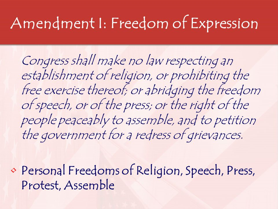 Amendment I: Freedom of Expression