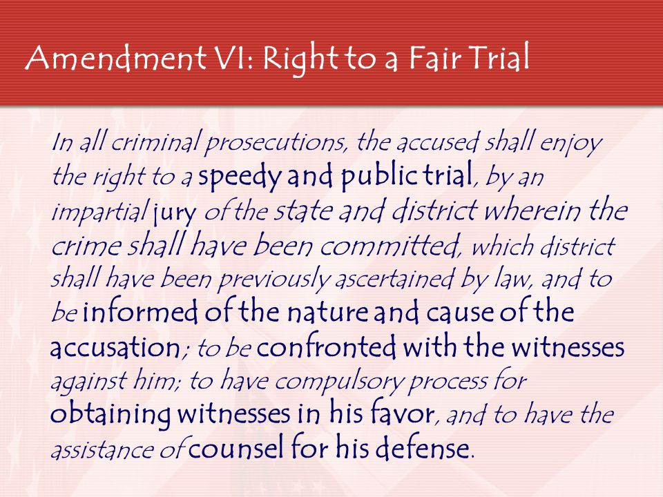 Amendment VI: Right to a Fair Trial