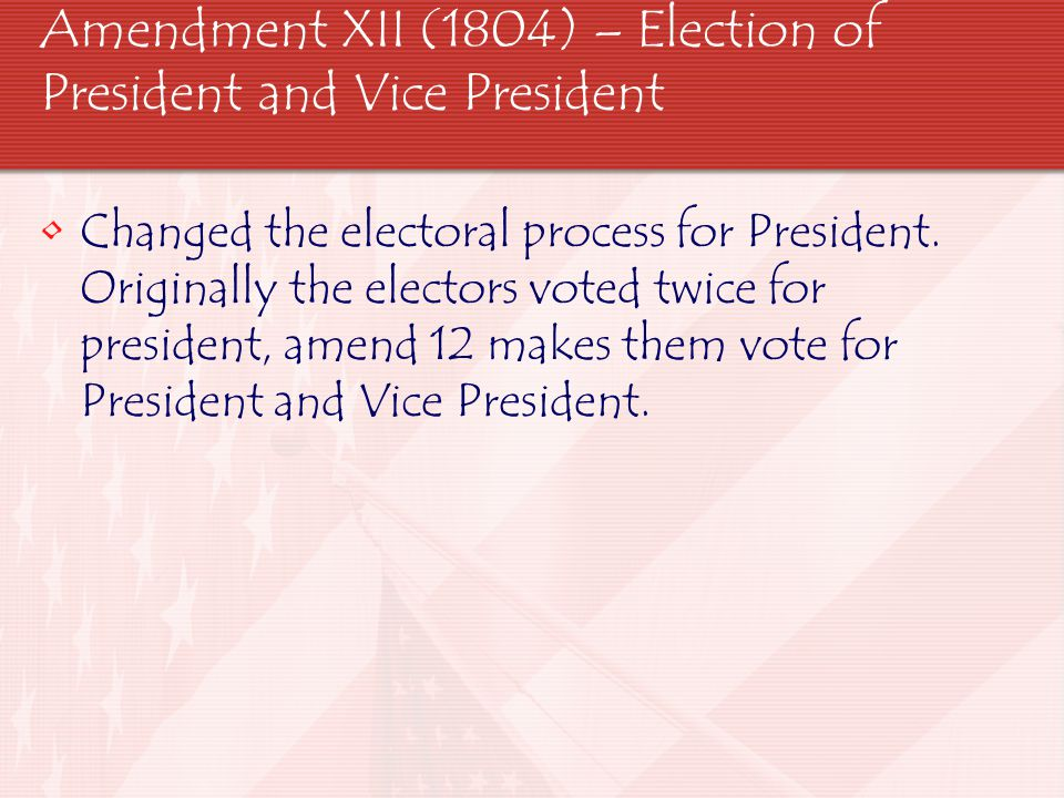 Amendment XII (1804) – Election of President and Vice President