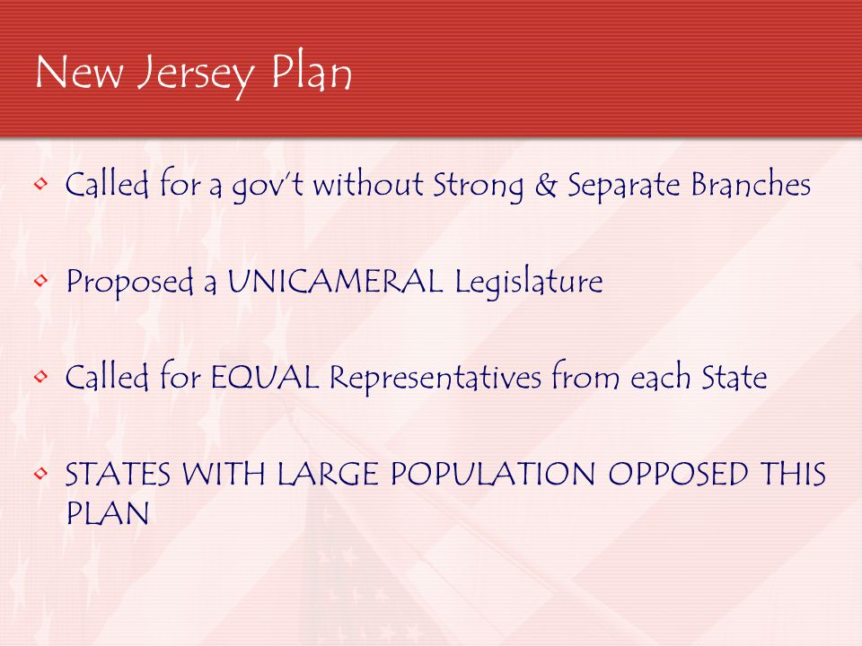 New Jersey Plan Called for a gov't without Strong & Separate Branches