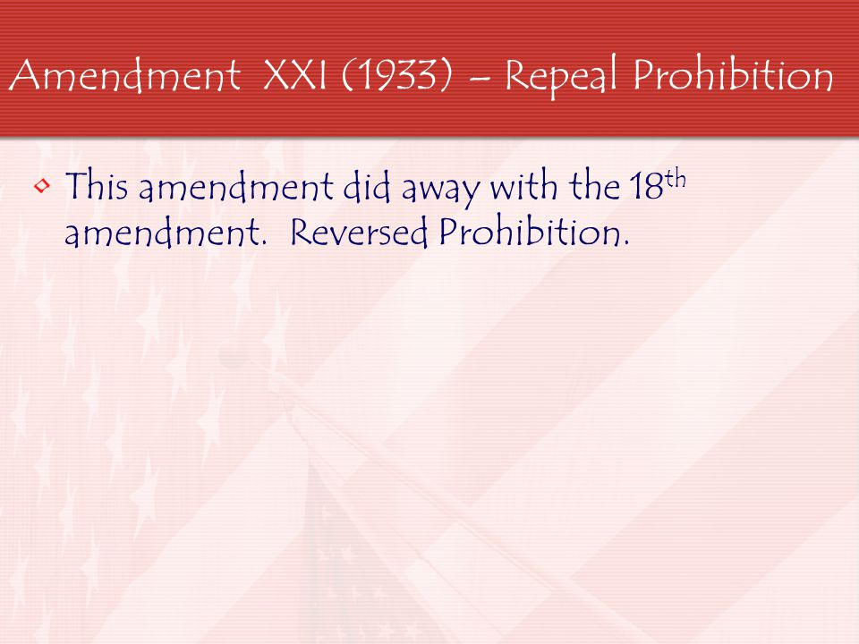 Amendment XXI (1933) – Repeal Prohibition