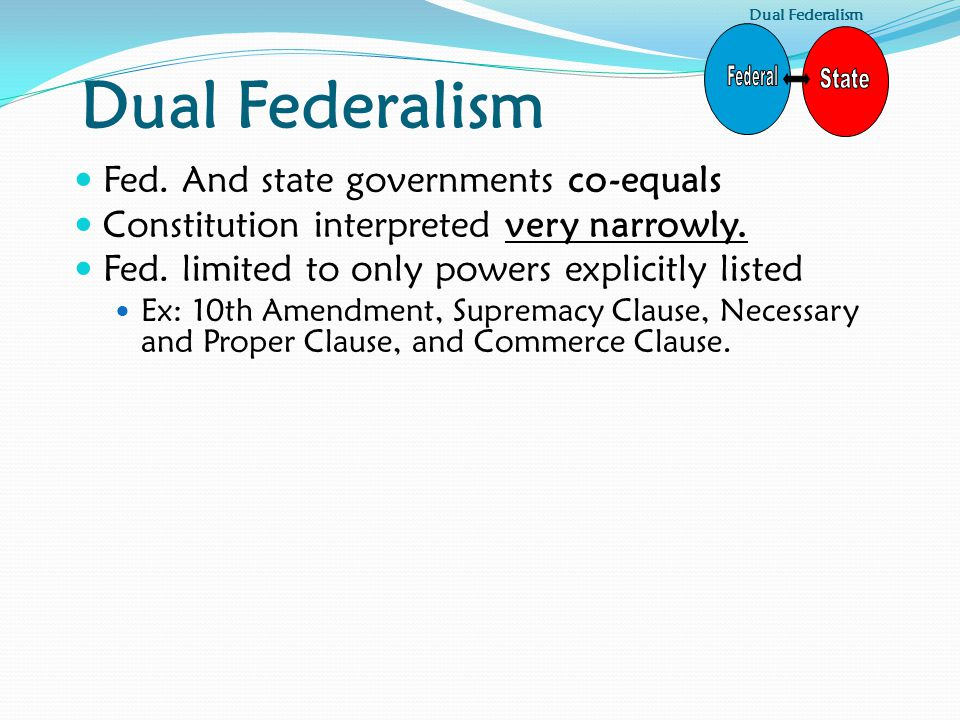 Dual Federalism Federal State Fed. And state governments co-equals