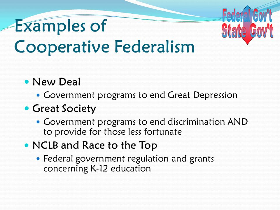 Examples of Cooperative Federalism