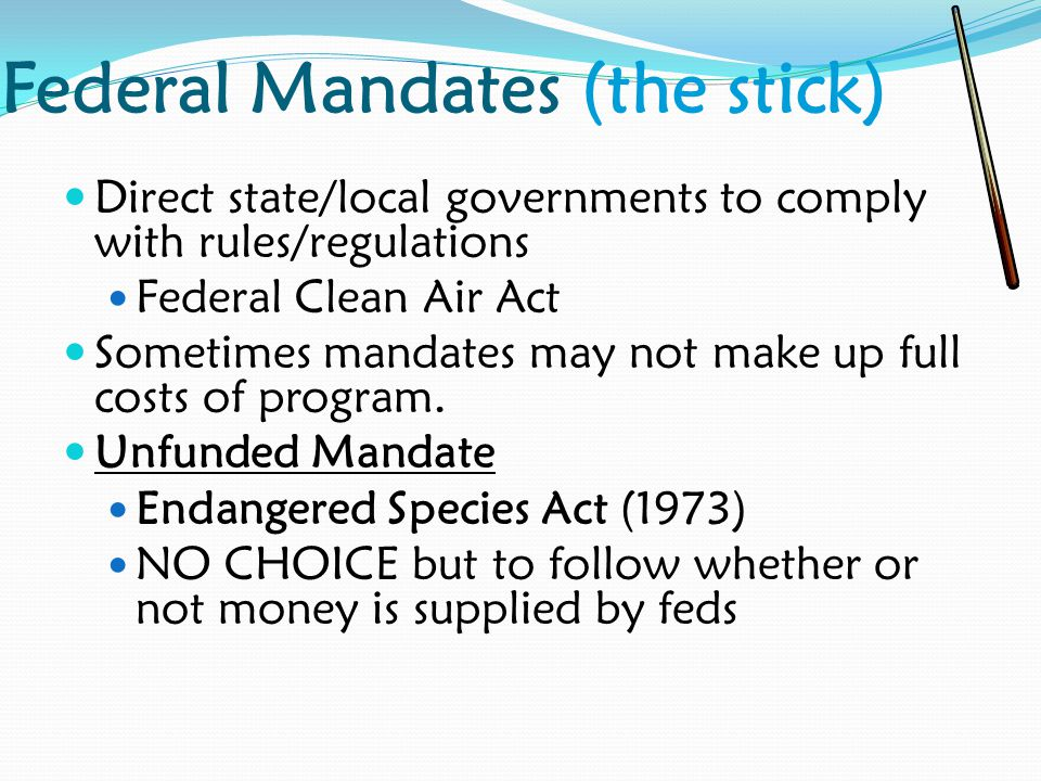 Federal Mandates (the stick)