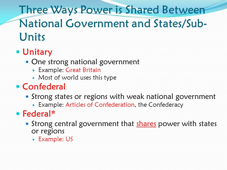 Three Ways Power is Shared Between National Government and States/Sub-Units