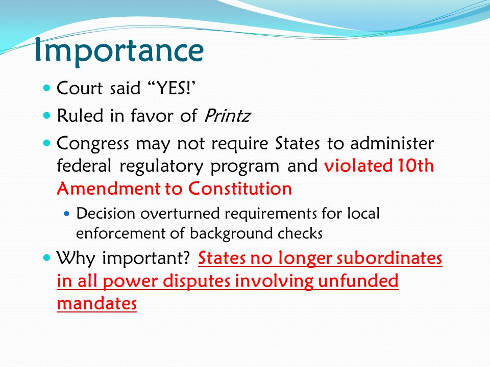 Importance Court said YES!' Ruled in favor of Printz