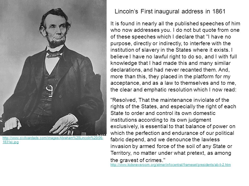 Lincoln's First inaugural address in 1861