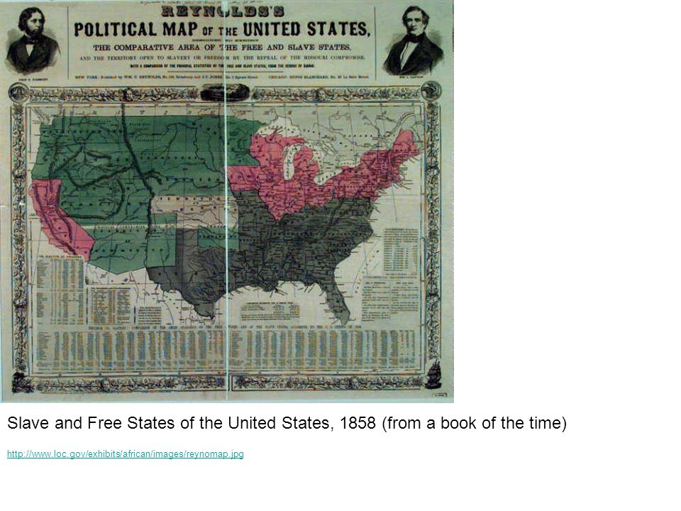 Slave and Free States of the United States, 1858 (from a book of the time)