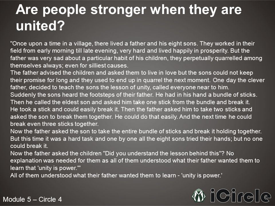 Are people stronger when they are united