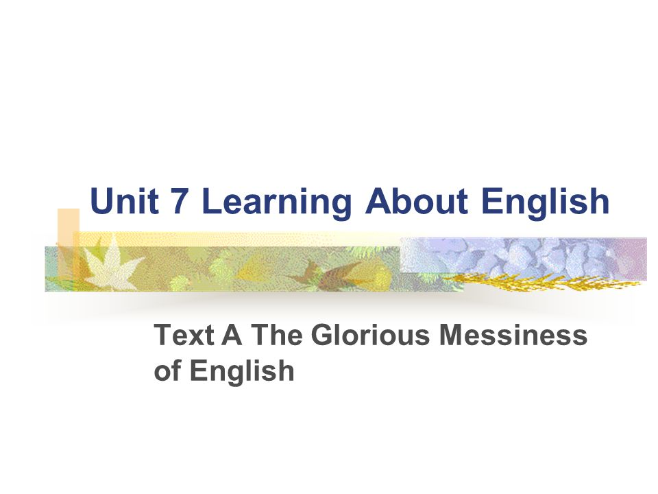 Unit 7 Learning About English