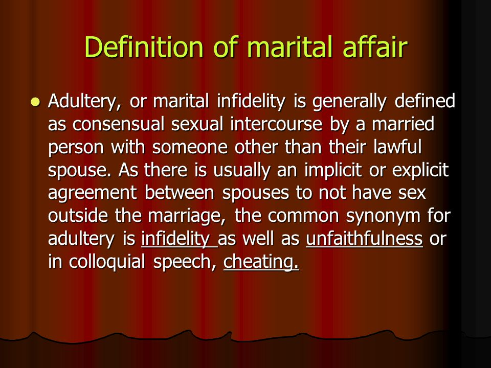 Definition of marital affair