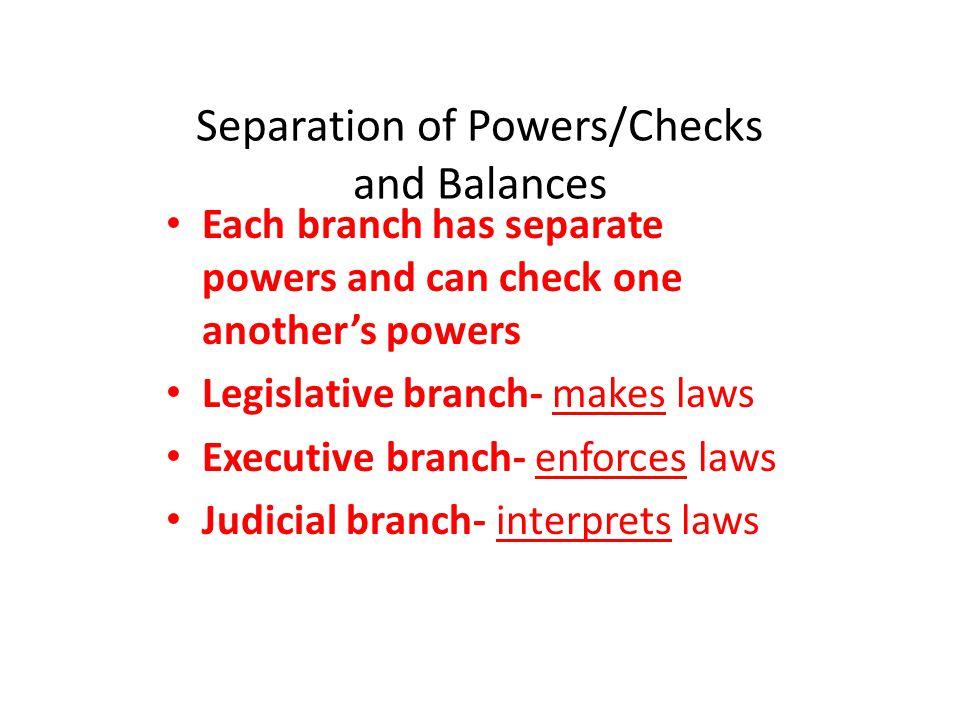 Separation of Powers/Checks and Balances