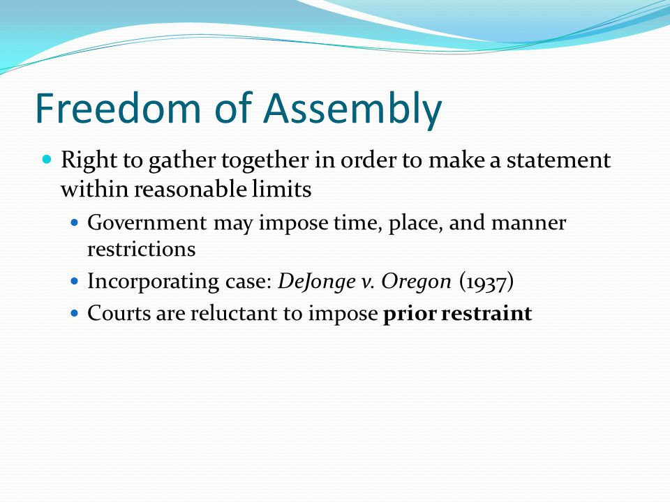 Freedom of Assembly Right to gather together in order to make a statement within reasonable limits.