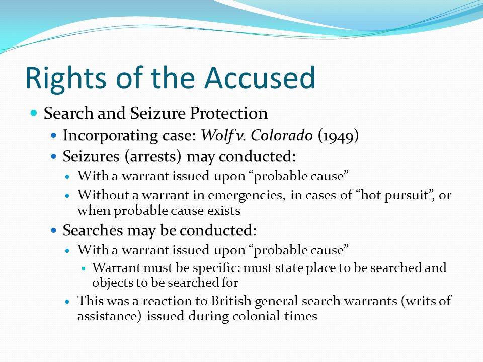 Rights of the Accused Search and Seizure Protection