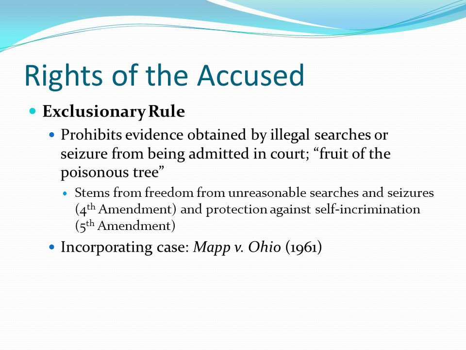 Rights of the Accused Exclusionary Rule
