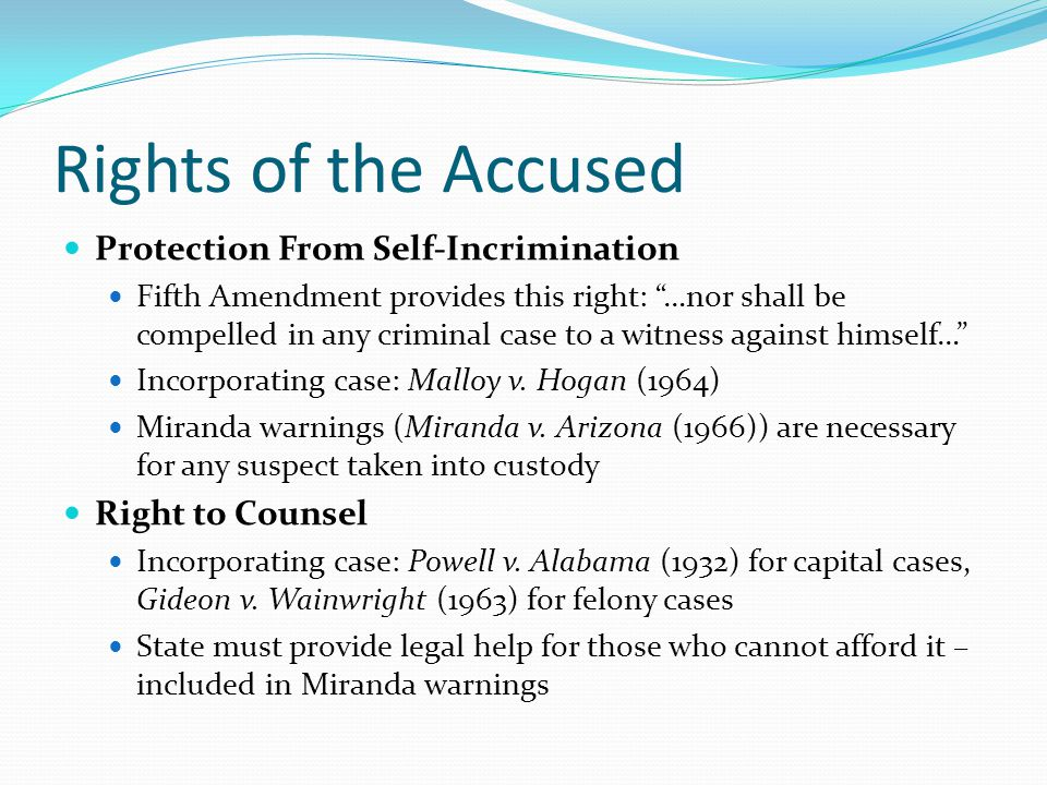 Rights of the Accused Protection From Self-Incrimination
