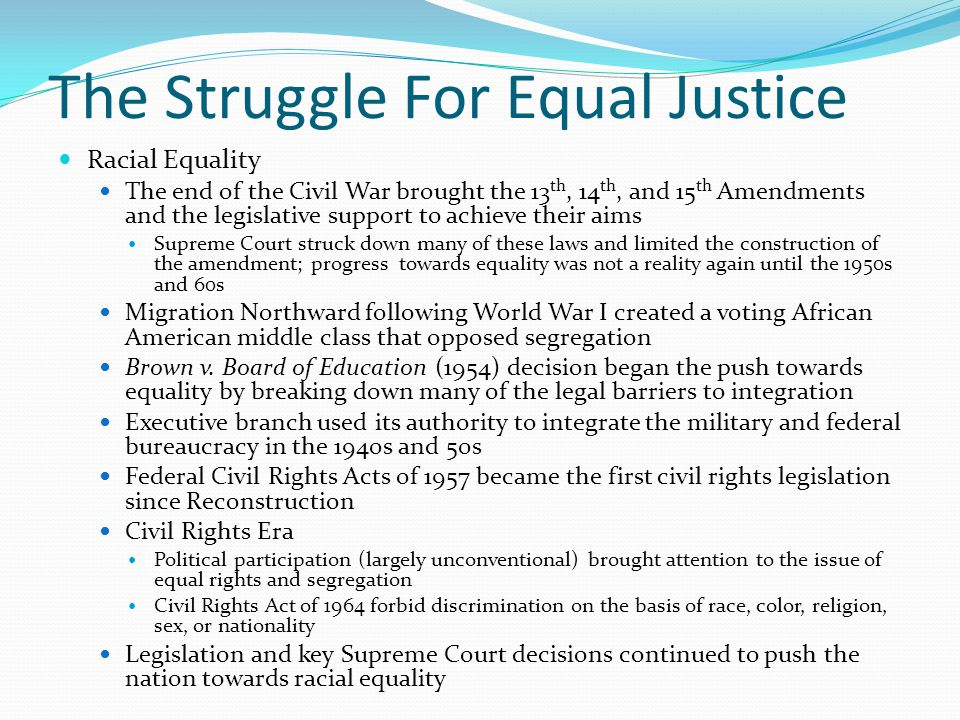 The Struggle For Equal Justice