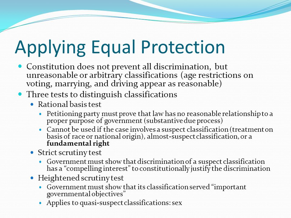 Applying Equal Protection