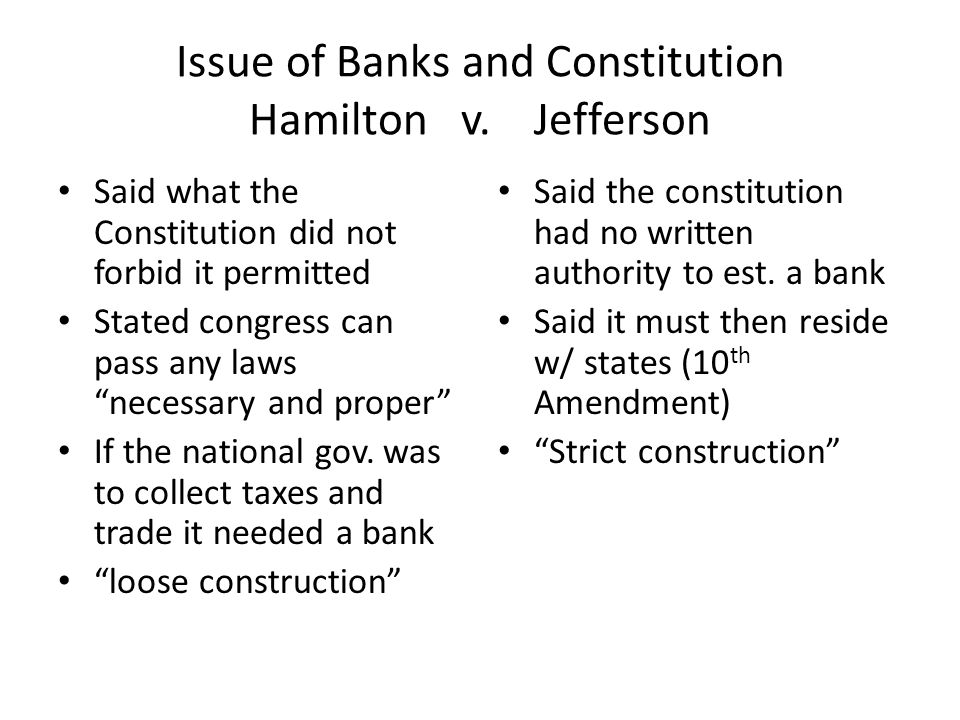 Issue of Banks and Constitution Hamilton v. Jefferson